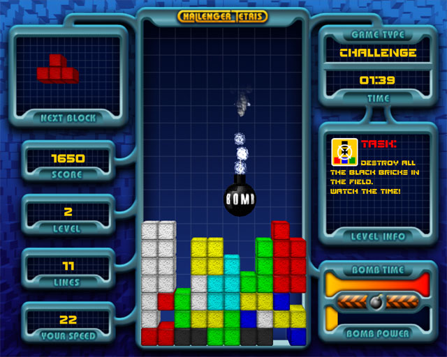 Click to view Challenger Tetris 1.5 screenshot
