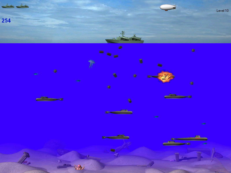 Navigate your ship through a minefield. Destroy enemy subs before they get you.